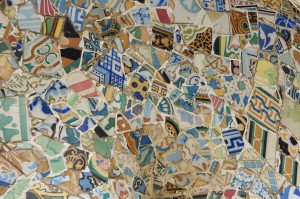 Mosaic wall in Barcelona's Park Guell