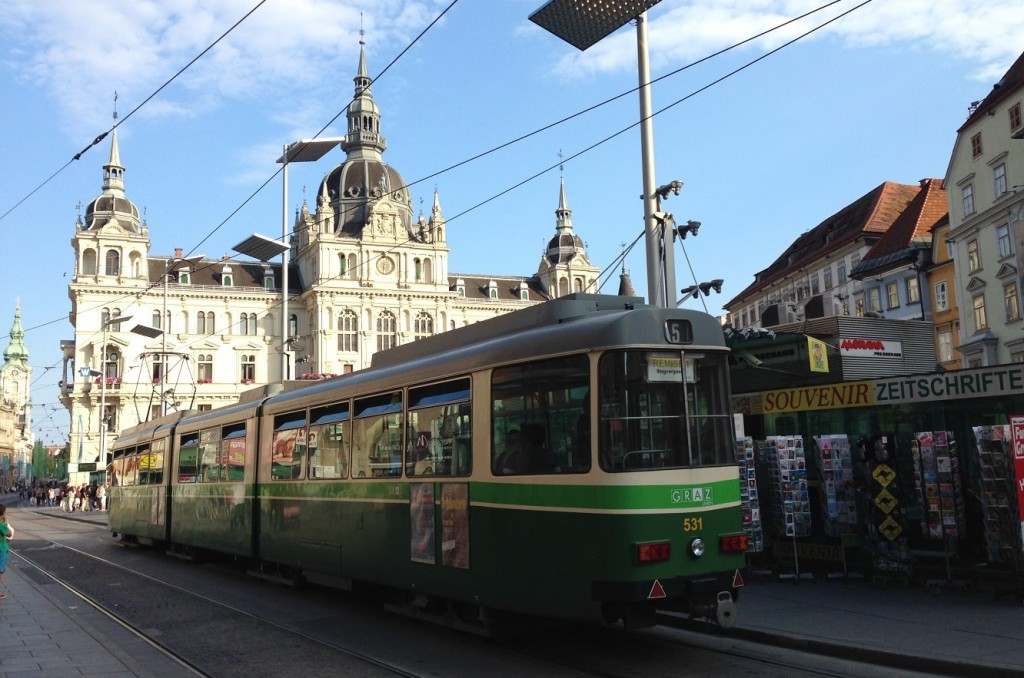 Graz:  A tram runs through it