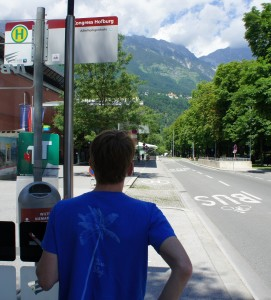 Waiting for the bus in Innsbruck